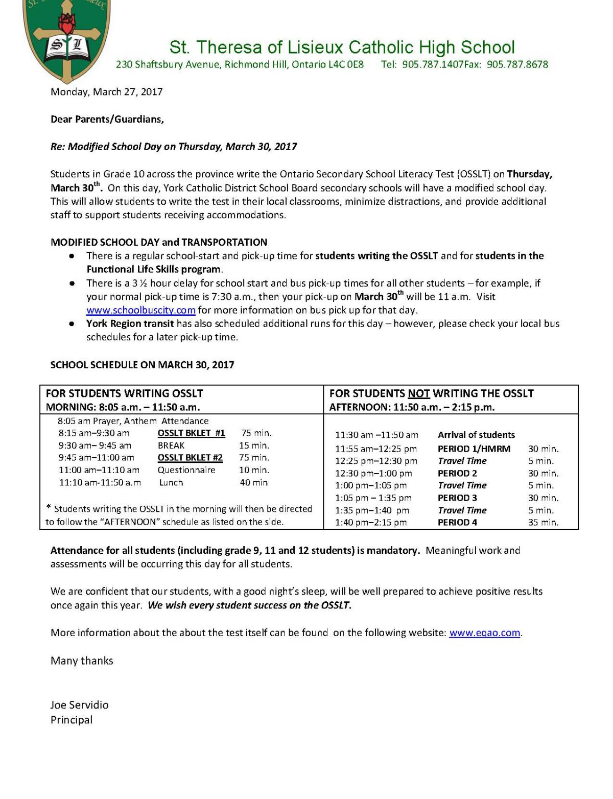 OSSLT – Letter to Parents
