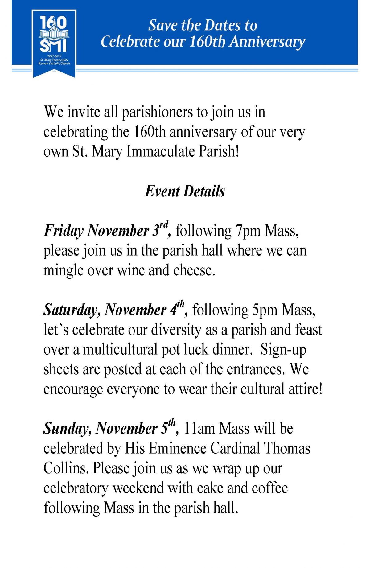 Join us in celebrating the 160th anniversary of our very own St. Mary Immaculate Parish!